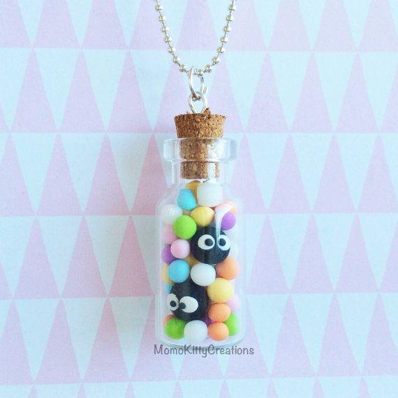 Boule de suie et Konpeito dans un bouteille collier, bijoux de Studio Ghibli, mon voisin Totoro, Spirited Away