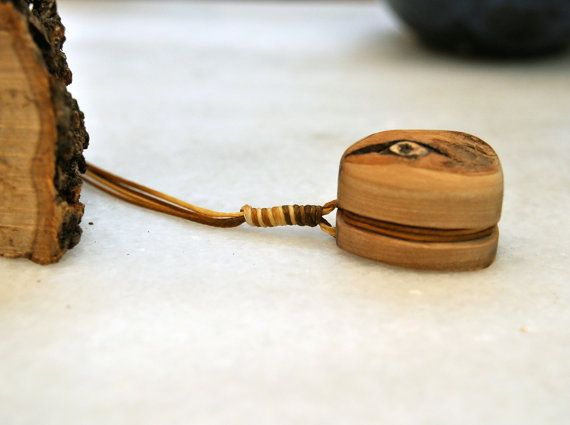 Eye Olive Wood Necklace Unique Handmade Pendant Olive by MavouShop