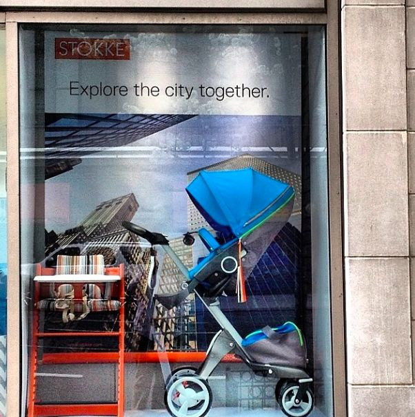 High Chair + High Stroller on High Street !  Stokke Tripp Trapp & Xplory stop crowds in New York City @Anne BABY Window Display