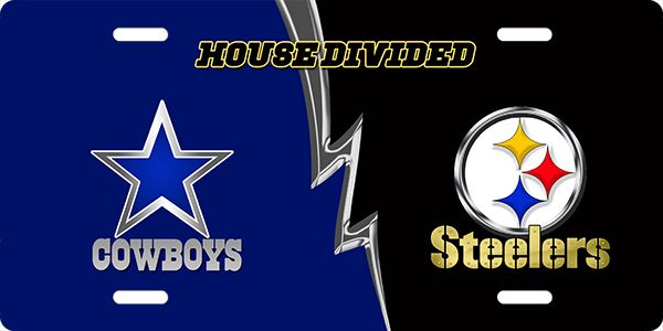 cowboys vs  steelers house divided license plate license plate  cowboys vs  steelers house