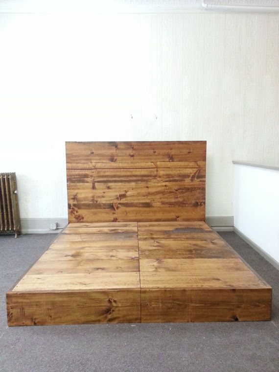 rustic industrial bed frame with headboard