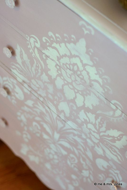 Dresser stenciled with Antoinette plus Pure White.and Damask Stencil from stockist Royal Design Studio and finished in Chalk Paint® decorative paint by Annie Sloan | By Memphis, TN stockist Me & Mrs. Jones