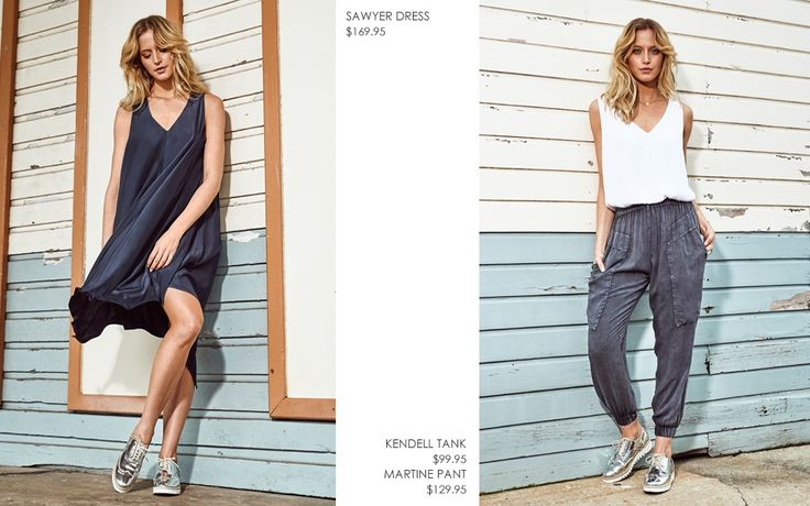 SAWYER SUMMER DRESS AND KENDALL WHITE TANK WITH WASHED OUT MARTINE PANT