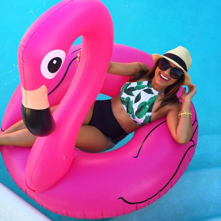 haute off the rack, summer style, women's fashion, flamingo pool float, pink flamingo, palm springs, bachelorette trip, show me your mumu, high neck bikini top, l space tigress high waist bottoms, black bathing suit bottoms, show me your mumu swim