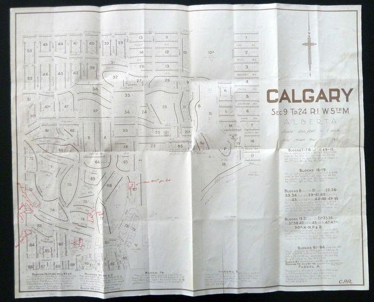 Calgary Canadian Pacific Railway Map of Mount Royal Alberta CPR Parcel Blocks | eBay