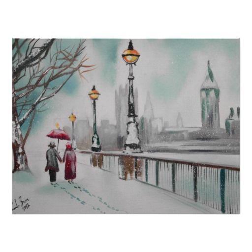 A couple walking in snowy London Gordon Bruce Posters