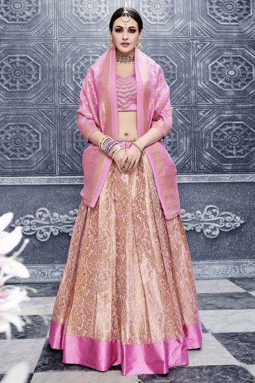 677b664a44 Baby Pink Banarasi Silk Lehenga With Fusing Choli - DMV11356 ...
