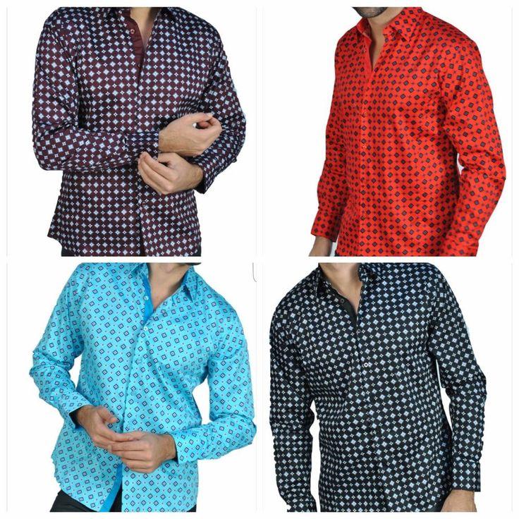 Slim fit fashion shirts for men western style geometric squares design S-3X #Privatelabel03155 #Fashionprintbuttondown