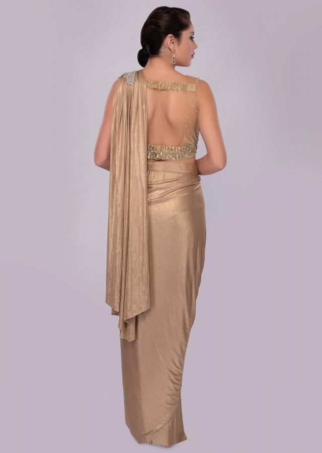 2c288dc4a2 Golden wrap around shimmer lycra saree with multi color sequins net blouse  only on kalki