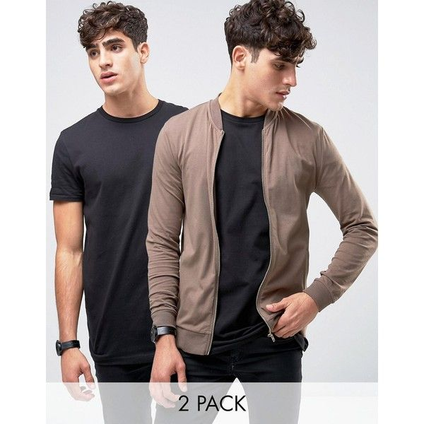 ASOS Jersey Muscle Fit Bomber Jacket/Black Longline T-Shirt 2 Pack ($34) ❤ liked on Polyvore featuring men's fashion, men's clothing, men's shirts, men's t-shirts, multi, mens cotton shirts, asos mens shirts, mens jersey shirts, mens tall t shirts and mens jersey t shirt