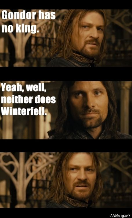 Lord of The Rings/Game of Thrones crossover... He's gonna need some ice for that burn.