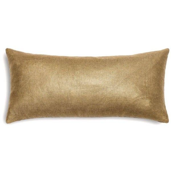 Loom Decor Metallic Gold Coated Khaki Linen Custom Lumbar Pillow... ($94) ❤ liked on Polyvore featuring home, home decor, throw pillows, rectangle throw pillow, taupe throw pillows, gold accent pillows, gold home accessories and metallic throw pillows