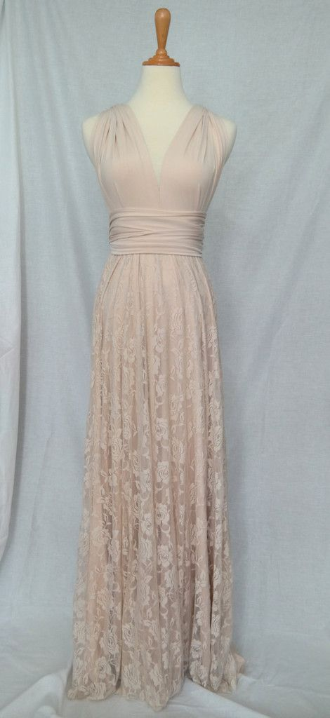 LilZoo Full Length Convertible Infinity Wrap Dress in Champagne Cream with Lace Overlay Skirt and Free infinity Bandeau Gold Beige Dress
