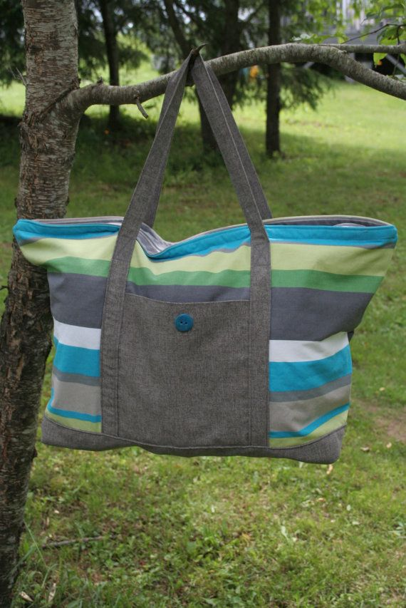 Extra Large Tote Bag, Beach Bag Pattern and Tutorial by SugarThreadz,