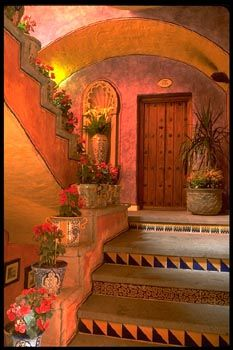 Mexican exterior stairway color, texture & decorative detail makes this a standout