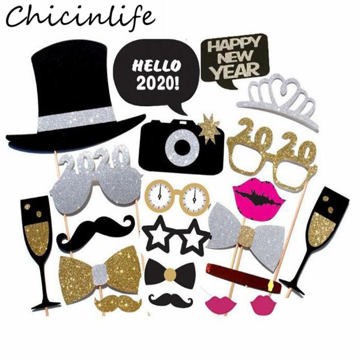 Chicinlife 20Pcs Happy New Year 2020 Photo Booth Props