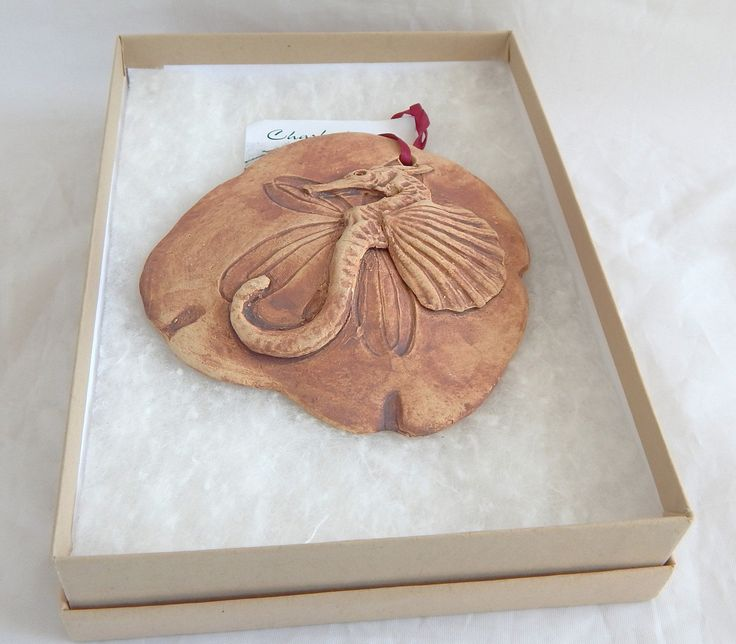 Handcrafted Stoneware Florida Ornament Sand Dollar And Sea