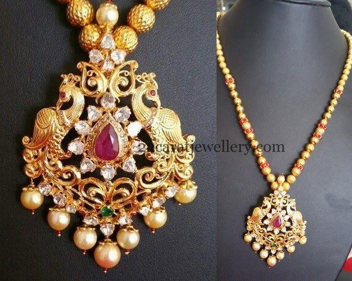 Jewellery Designs: Antique Pendant 1 Lakh Worth