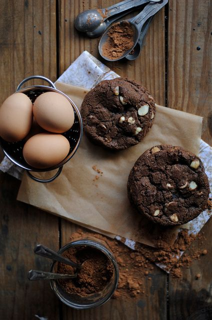 White Chip and Macadamia Nut Chocolate Cookies by How To: Simplify #recipe