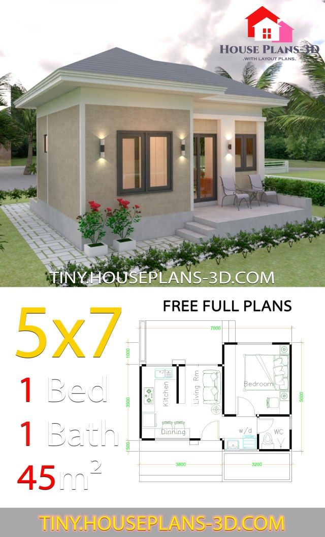 Small House Design Plans 5x7 With One Bedroom Hip Roof Tiny House Plans In 2020 Small House Design Plans Guest House Plans One Bedroom House Plans