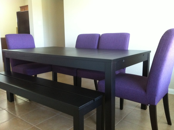dining set from ikea. bjursta table and bench and henriksdal chairs. $790. : breakfast nook ...