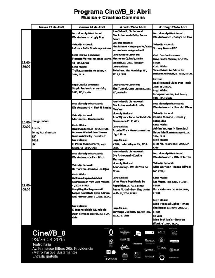 Programacion Cine//B_8:Abril  Música+Creative Commons. Del 23 al 26 de Abril de 2015. www.festivalcineb.com