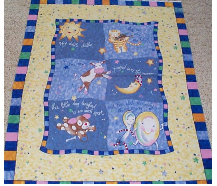 Hey Diddle Diddle Nursery Rhyme Baby Quilt Top Panel