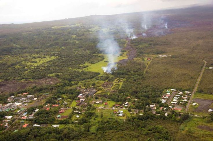 The lava flow from the Kilauea Volcano is seen nearing residential areas in a U.S. Geological Survey (USGS) image taken near the village of Pahoa, Hawaii, October 27, 2014.