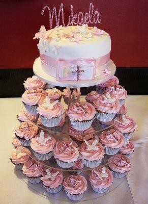 Tortas de cupcakes para un bautizo   Fiesta101