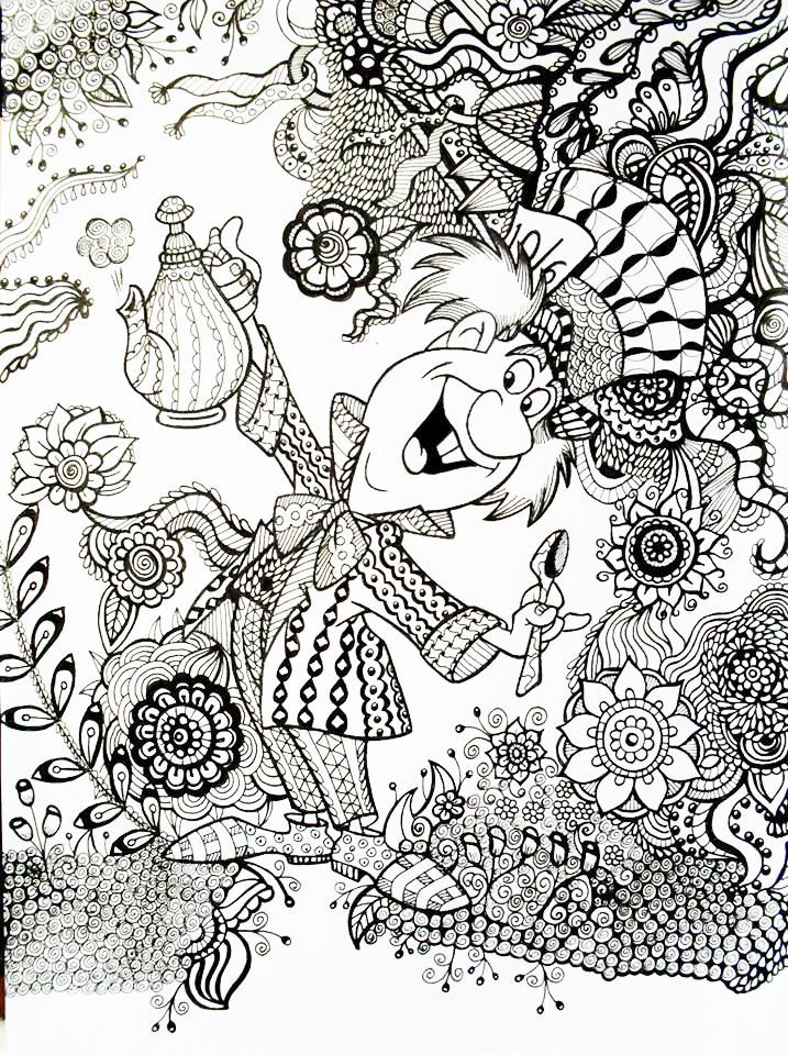 Mad Hatter Alice In Wonderland An Example Of How A Regular Coloring Book Printable Page Can Be