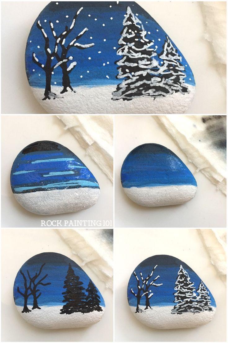 Wie man diese schöne Winterszenen-Felsmalerei-Idee macht  – Defne De – #De #Def…