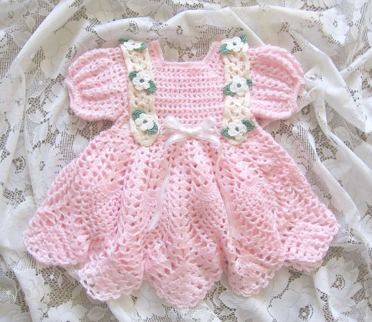 """Crochet Pattern for """"Baileigh"""" Baby Dress by REBECCA LEIGH -  6 months to 12 mos #RebeccaLeigh"""