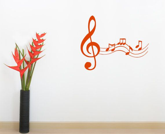 Musical Wall Decals Treble Clef Notes Vinyl Sticker Room Nursery Home Decor aa101