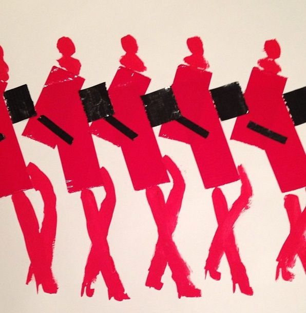 Red Gauche and Black Duct Tape Female Fashion Army, by DonaldDrawbertson, via Instagram.