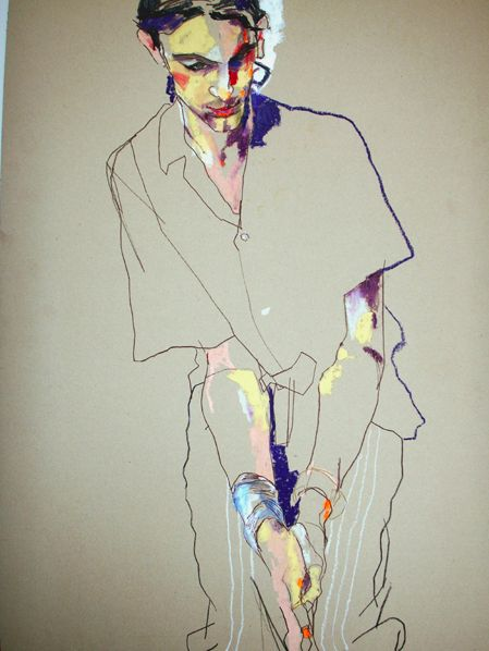 Howard Tangye: I love the way Howard uses mixed media within his figurative drawings such as acrylic, oil pastel, pen and pencil to create a layered yet simple effect. He manages to make his drawings expressive whilst making the figures look fragile, similar to that of Egon Schiele.
