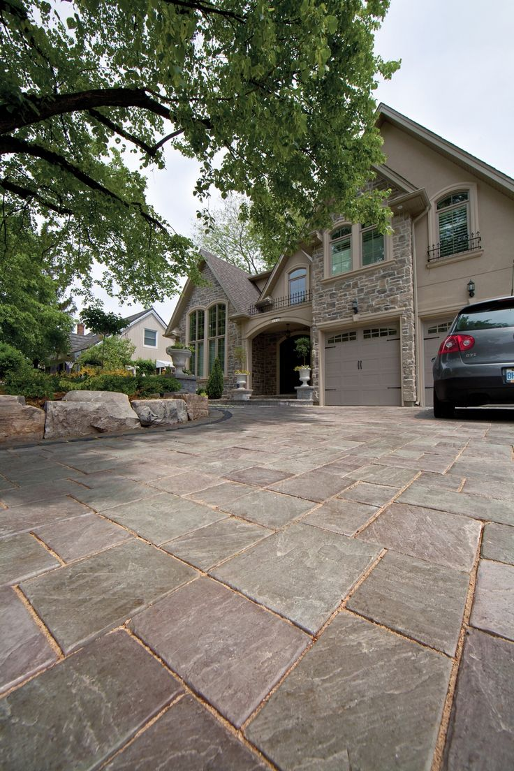 richcliff driveway with courtstone accent photos driveway ideaspatio - Driveway Patio Ideas