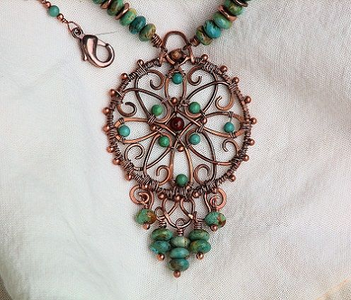 Copper Wire Wrapped Turquoise Necklace Filigree Medallion MaAnshan - so pretty