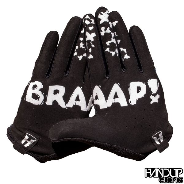 Business in Front and Party in Back. Much like the ever illustrious mullet, the new BRAAAP! Glove will keep you looking clean on top with that classic black color and subtle design on the finger tips. Then, once it's time to let your hair down, throw up your palms to let your buddies know you're about to BRAAAP! down the trail! Mountain Bike Glove Road Cyclocross CX