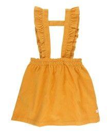 Golden Yellow Corduroy Ruffle Strap Skirt – 3 kids