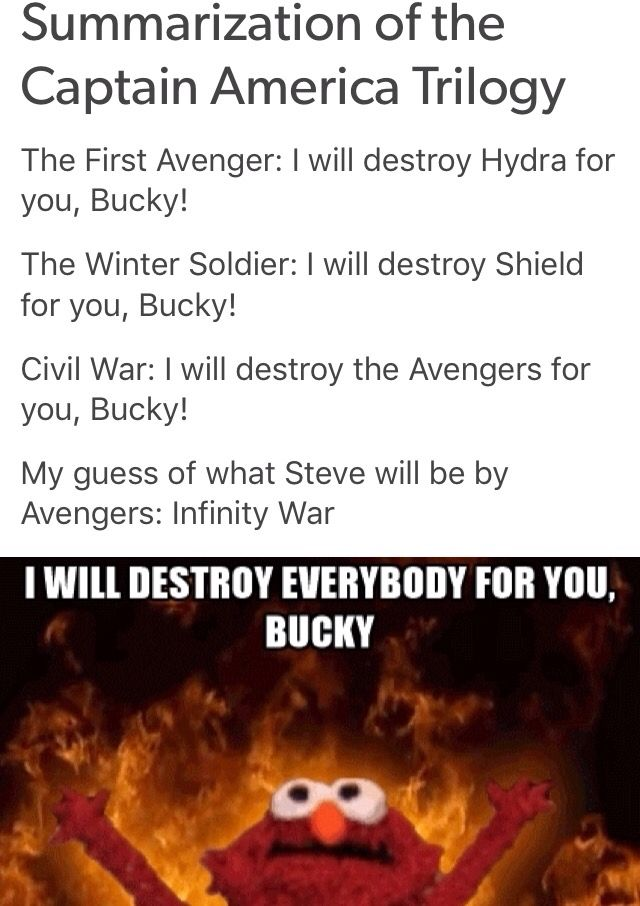~Only that, Steve didn't destroy SHIELD OR Avengers. Hydra had SHEILD over a barrel and half in before anybody noticed, and Tony made the choice to attempt to coerce and eventually manhandle the Avengers into the Accords, and in the MCU, the last installment was more Iron Man 4 with Bucky as a plot device, a puppet used by Tony as easily as Zemo.~