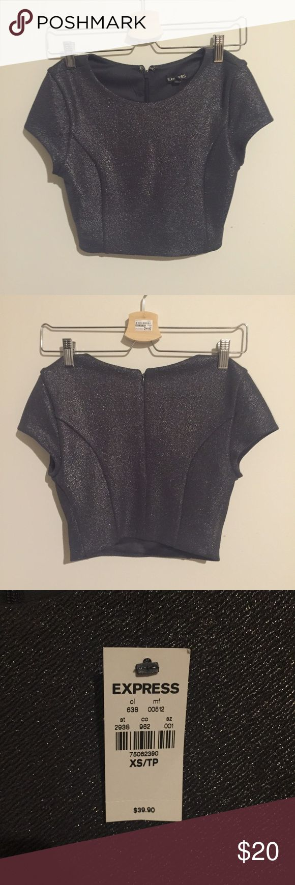 💖NWT💖 Express Metallic Crop Top in Gunmetal Brand new crop top from express. It's a dark grey. Refer to the fifth picture for sizing. I love it but it doesn't fit and it's time to find it a new home! 💖 Express Tops Crop Tops