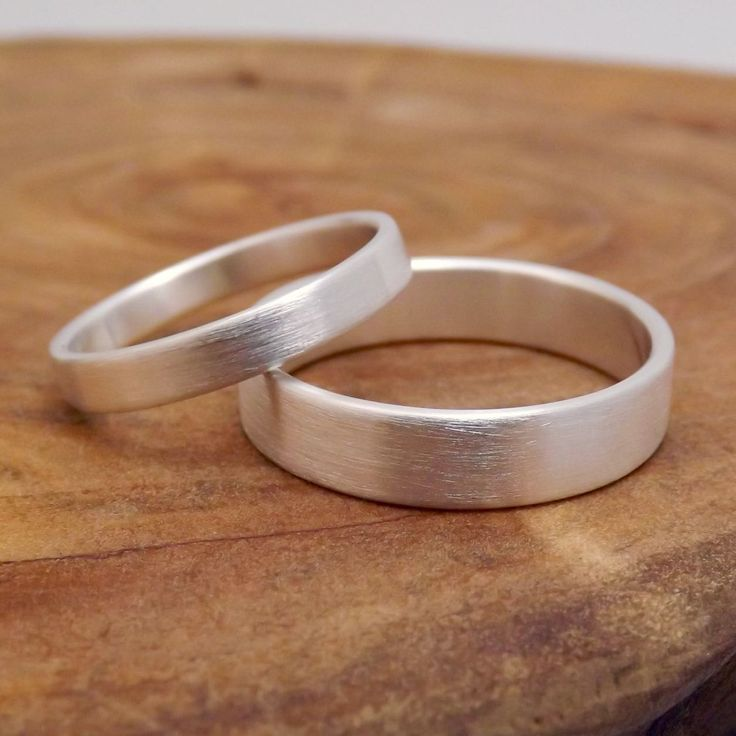 His & Hers Rings - Simple Silver Wedding Bands