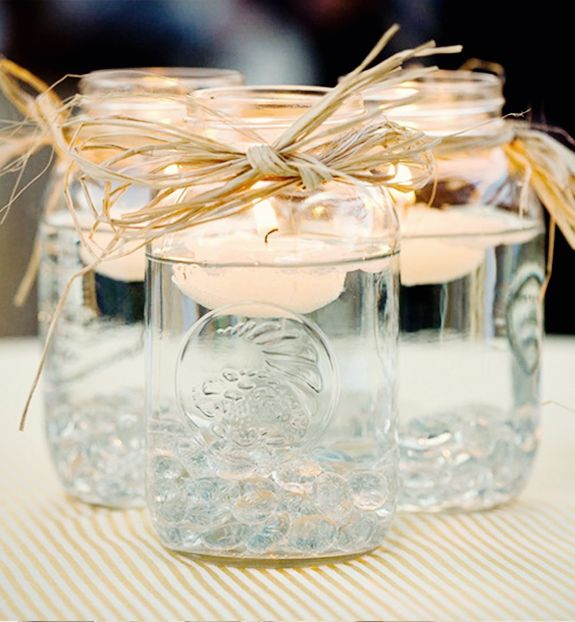 mason jar floating candles centerpiece