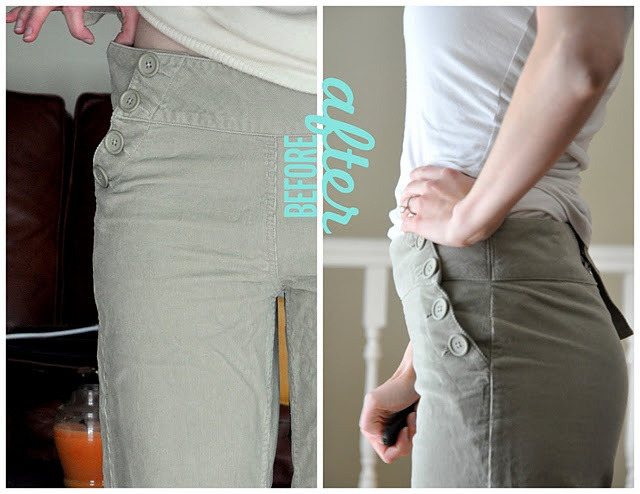 Perfect way to take in all those pants that are a little too big in the waste but fit elsewhere.  Great tip