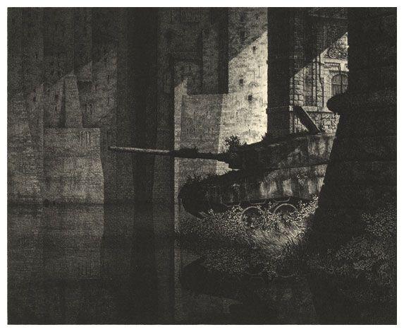Gérard Trignac - Le chevalier errant  Eau forte et burin 1983 204X240