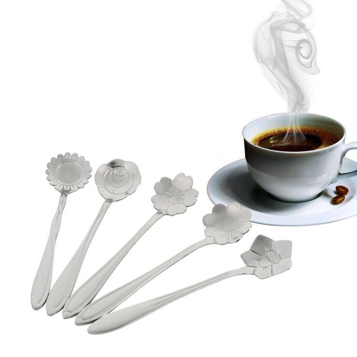 5 יחידות קפה הכפית Creative צורת פרח נירוסטה גלידת כפות מרק לאטה קפה כפיות חדש