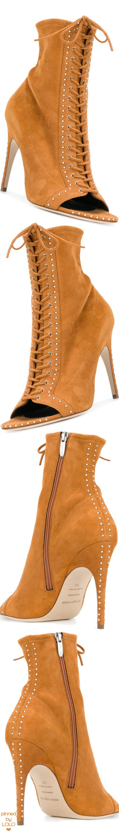 SERGIO ROSSI  open toe lace-up boots