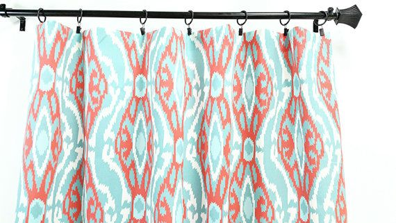 Ikat Sherpa  Panel Curtain. 2 panel curtain. Coral Aqua and white Window Treatment.curtain.cotton.unlined.Choose  your sizes.cm