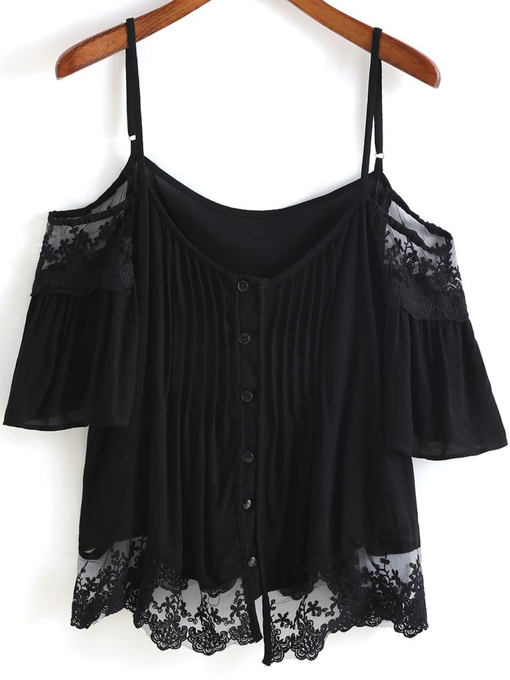 Black Spaghetti Strap Lace Buttons Blouse