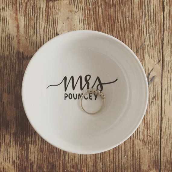 custom name ring dish engagement present by letterallycrafts